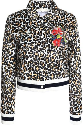 MAJE Floral-embroidered leopard-print satin jacket