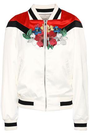 MAJE Embroidered satin bomber jacket