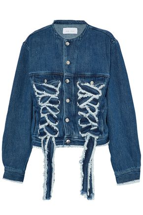 IRO Lace-up frayed denim jacket