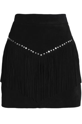 MAJE Fringe-trimmed studded suede mini skirt