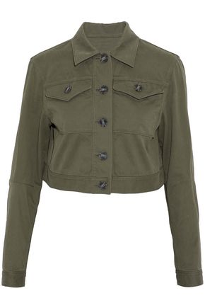 T by ALEXANDER WANG Cropped stretch-cotton twill jacket