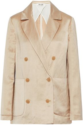 DIANE VON FURSTENBERG Double-breasted linen-blend satin jacket