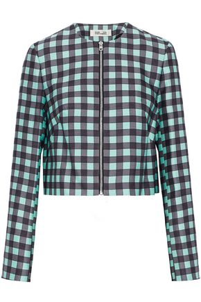 DIANE VON FURSTENBERG Gingham wool and silk-blend jacket