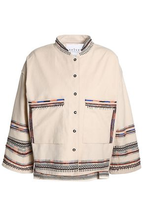 VELVET by GRAHAM & SPENCER Bed-embellished embroidered cotton-canvas jacket
