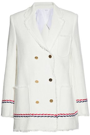 451f115e6c Double-breasted frayed cotton-tweed jacket | THOM BROWNE | Sale up ...