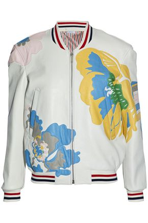 THOM BROWNE Appliquéd pebbled-leather bomber jacket