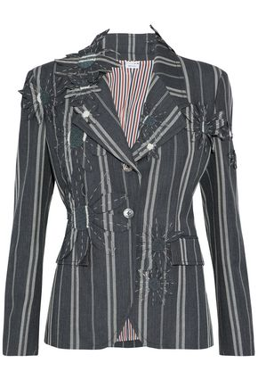 THOM BROWNE Floral-appliquéd pinstriped wool and mohair-blend jacket