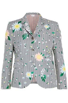 THOM BROWNE Embroidered striped woven blazer