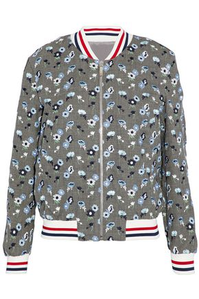 THOM BROWNE Ribbed knit-trimmed embroidered wool bomber jacket