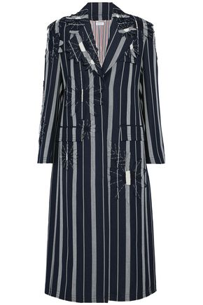 THOM BROWNE Floral-appliquéd striped mohair coat
