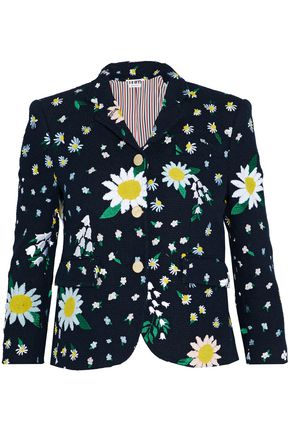 THOM BROWNE Embroidered cotton-tweed blazer