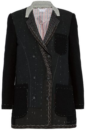 THOM BROWNE Canvas-trimmed felt-paneled cotton-tweed jacket