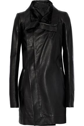 RICK OWENS Ribbed knit-paneled leather jacket