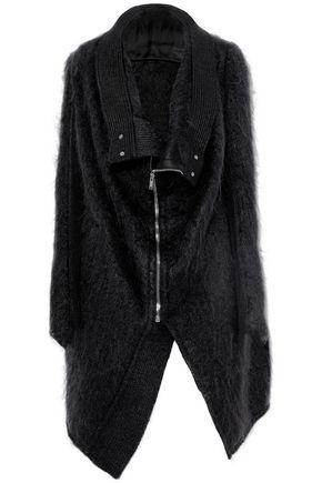 RICK OWENS Asymmetric ribbed wool-paneled mohair-blend jacket
