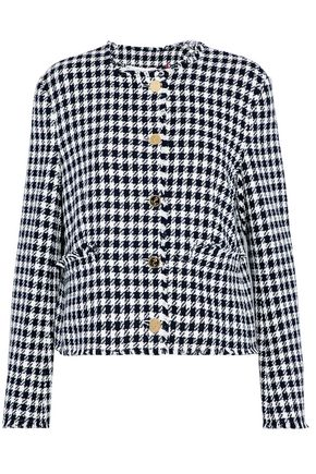 THOM BROWNE Frayed embellished houndstooth cotton-tweed blazer