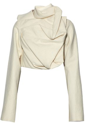 RICK OWENS Cropped draped cotton and silk-blend felt top