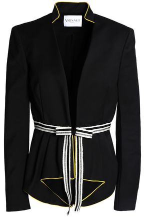 VIONNET Metallic grosgrain-trimmed cotton-blend jacket