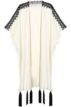 VIONNET Lace-paneled tasseled two-tone silk-blend cape