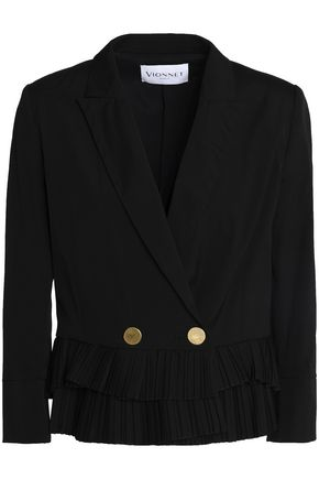 VIONNET Double-breasted cotton-blend blazer