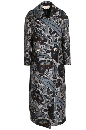 MARNI Double-breasted floral-print cotton and silk-blend coat