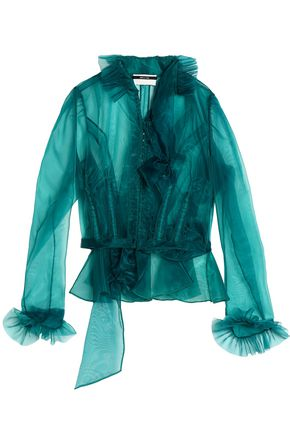 MAISON MARGIELA Ruffled cotton-blend organza blouse