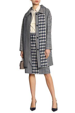 OSCAR DE LA RENTA Paneled houndstooth jacquard coat