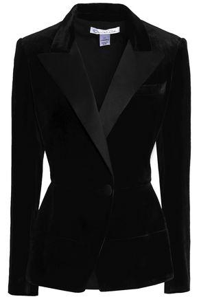 OSCAR DE LA RENTA Satin-trimmed velvet blazer