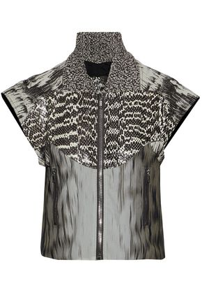 RICK OWENS Paneled snakeskin, cotton-blend jacquard and printed silk-georgette jacket