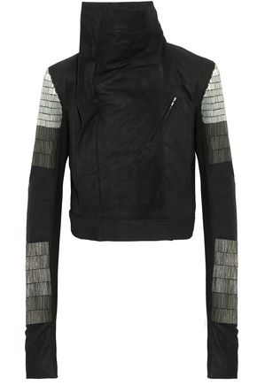 RICK OWENS Bead-embellished brushed-leather biker jacket