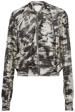 RICK OWENS Draped printed cotton and silk-blend jacket