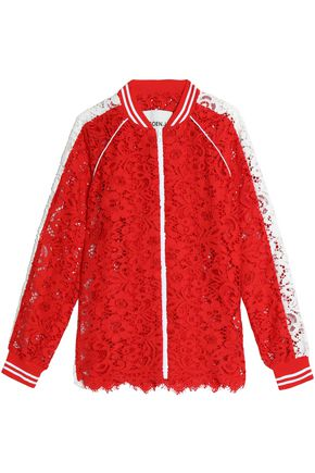 GOEN.J Two-tone cotton guipure lace jacket