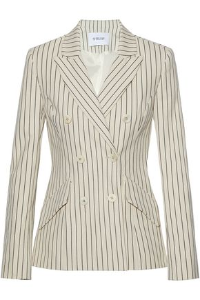 DEREK LAM 10 CROSBY Double-breasted pinstriped stretch-cotton blazer