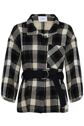 DEREK LAM 10 CROSBY Belted checked wool-blend coat