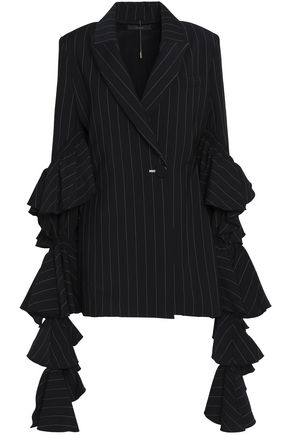 ELLERY Tiered ruffled striped woven jacket