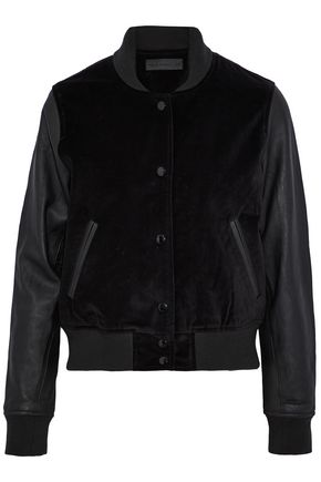 RAG & BONE/JEAN Leather-paneled velvet bomber jacket