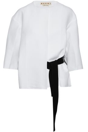 MARNI Belted frayed cotton-poplin jacket