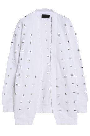 RTA Distressed eyelet-embellished cotton-jersey cardigan