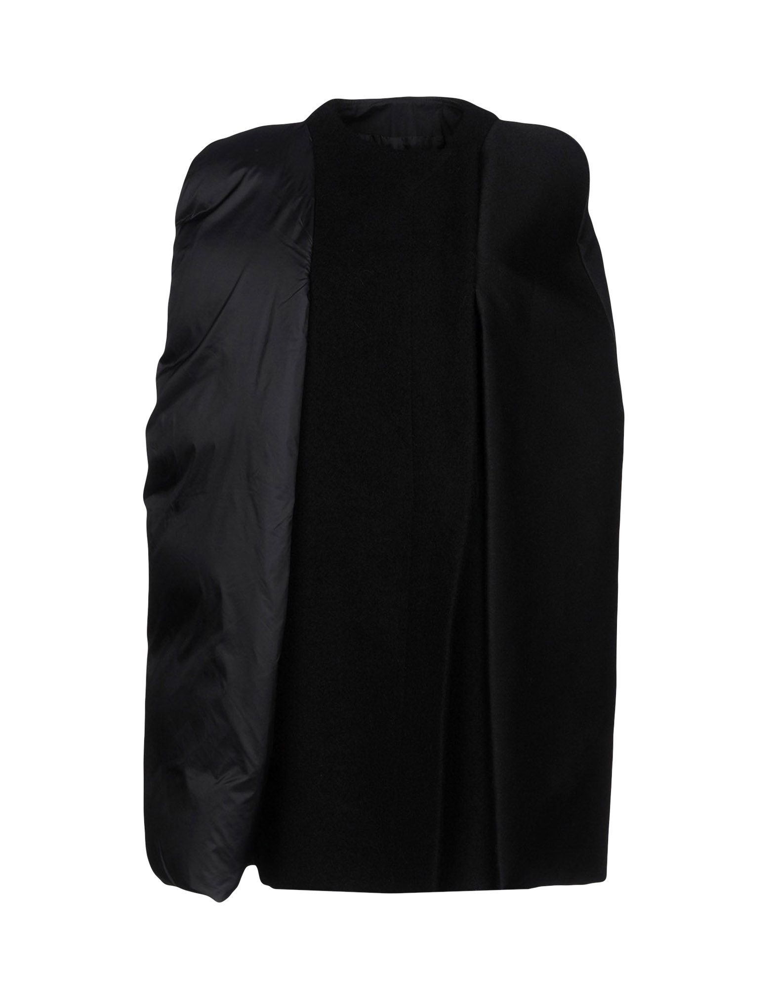 RICK OWENS Capes & ponchos. Techno fabric Boiled wool No appliqués Solid color Single-breasted Zip Round collar Multipockets Sleeveless Semi-lined Generic outerwear Small sized. 100% Virgin Wool, Polyamide, Wool, Cotton, Silk