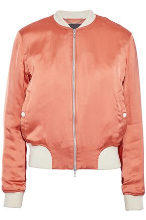 RAG & BONE Ribbed knit-trimmed satin bomber jacket