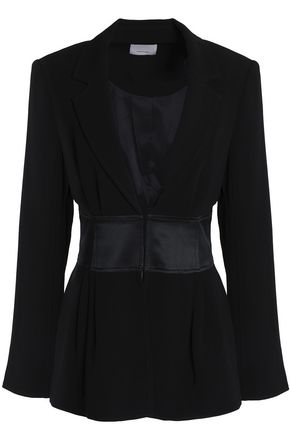 CINQ À SEPT Silk satin-trimmed crepe blazer