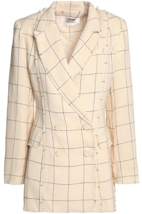ZIMMERMANN Double-breasted frayed checked linen-twill blazer