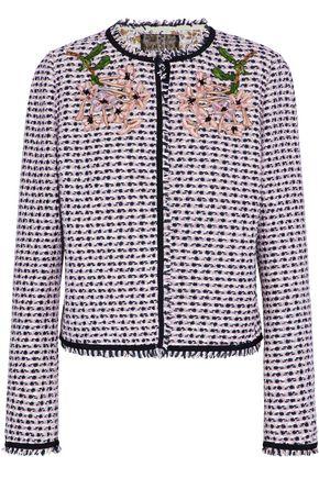GIAMBATTISTA VALLI Appliquéd frayed metallic bouclé-tweed jacket