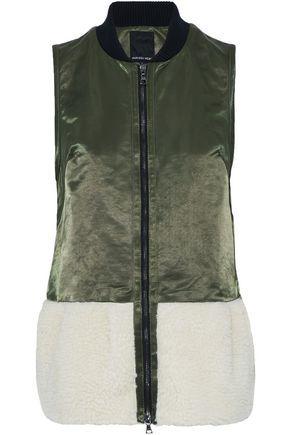 MARISSA WEBB Faux shearling-paneled cotton-blend satin vest