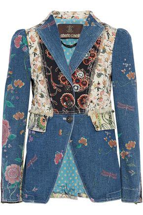 ROBERTO CAVALLI Fringe-trimmed patchwork-effect floral-print denim jacket