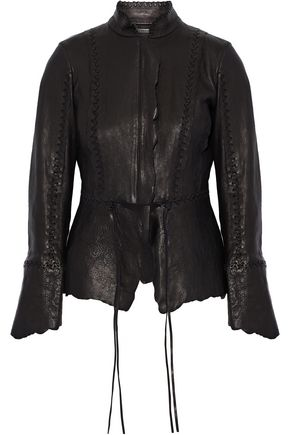 ROBERTO CAVALLI Asymmetric whipstitched brushed-leather jacket