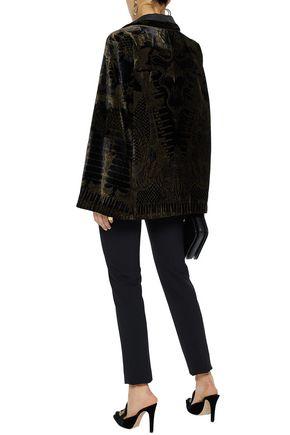 ROBERTO CAVALLI Cape-effect twill-paneled metallic printed velvet jacket