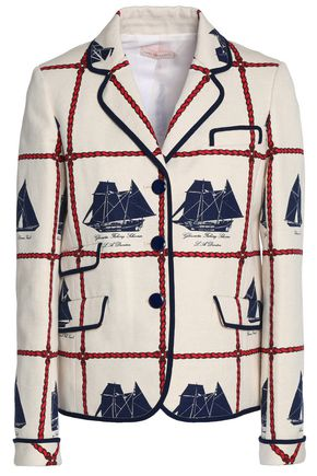 TORY BURCH Printed woven cotton and linen-blend jacket