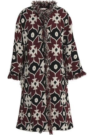 TORY BURCH Frayed jacquard coat