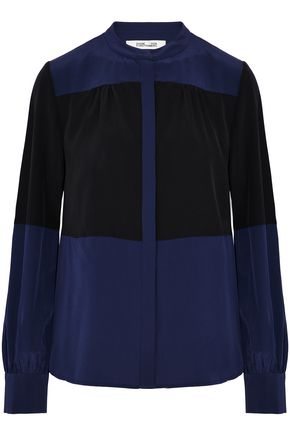 DIANE VON FURSTENBERG Gathered silk crepe de chine shirt