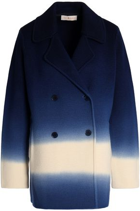 TORY BURCH Double-breasted degradé merino wool coat